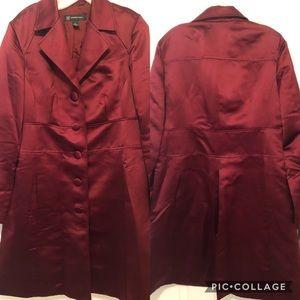 INC Burgundy Wine Red Satin Coat